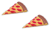 2 small pieces PIZZA SLICE Iron On Patch Fabric Applique Italian Food Motif Children Decal 2.2 x 1 inches