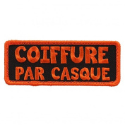 COIFFURE PAR CASQUE, High Thread Embroidered Iron-On / Saw-On, Heat Sealed Backing Rayon PATCH - 10cm x 5.1cm
