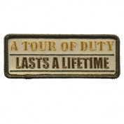 A TOUR OF DUTY, LASTS A LIFETIME, Embroidered Iron-On / Saw-On, Heat Sealed Backing Rayon PATCH - 10cm x 5.1cm