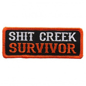 S@@T CREEK SURVIVOR, High Thread Embroidered Iron-On / Saw-On, Heat Sealed Backing Rayon PATCH - 10cm x 2.5cm
