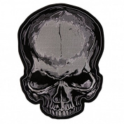 JUMBO SKULL grey, High Thread Embroidered Iron-On / Saw-On, Heat Sealed Backing Rayon PATCH - 15cm x 20cm
