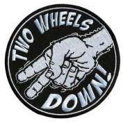 TWO WHEELS DOWN EMBROIDERED IRON ON MOTORCYCLE PATCH