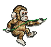 Baby Monkey DIY Embroidered Sew Iron on Patch