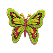 Yellow & Green Butterfly DIY Embroidered Sew Iron on Patch