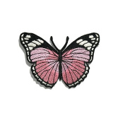 Light Pink Butterfly DIY Embroidered Sew Iron on Patch