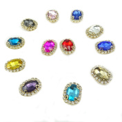 Honbay 12Pcs Assorted Colour Rhinestone Beads 4 Claws Hand Sewing Crystal beads with Holes For Sewing Headbands Hair Bows Wedding Bouquet Clothes Accessories