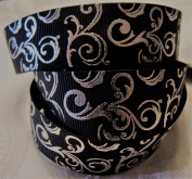Grosgrain Ribbon - Black With Silver Swirl Print - 2.2cm Wide - 5 Yards - Hair Bows & Crafts