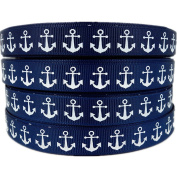 50yds 1.6cm Nautical Anchor Printed Navy Blue Grosgrain Ribbon