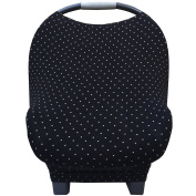 "Nursing Breastfeeding Cover and Baby Car Seat Cover Canopy Multi-Use 5 in 1 ""Midnight Moon"" Black and White Polkadots Gift by Stormbaby."