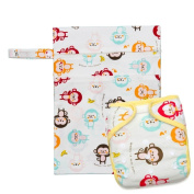 Kawaii Baby One Size Bamboo Charcoal Cloth Nappy + 2 Inserts & Wetbag gift set