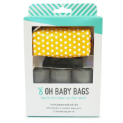 Oh Baby Bags Nappy Bag Clip-On Dispenser Gift Box with Disposable Bags for Dirty Nappies - Recycled Plastic - Yellow Dot Duffle plus 48 Grey Unscented Bags