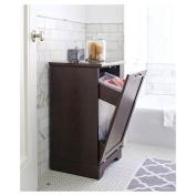 Threshold Home Furnishings Laundry Tilt Out Wood Hamper, Brown, Wood Bathroom basket Furniture