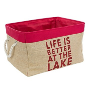 Life Is Better At The Lake Large Burlap Storage Bin in Red