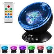 ieGeek Colour Changing Aurora Projection LED Lamp,Remote Control Ocean Wave Projector 12 LED & 7 Colours with Built-in Mini Music Player for Living Room,Bedroom,Mood Light,Baby Nursery Kids