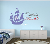 Custom Pirate Boat Name Wall Decal - Pirate Boy Room Decor - Nursery Wall Decals - Captain Pirate Vinyl Sticker for Boys