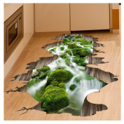 Kemilove 3D Stream Floor Wall Sticker Removable Mural Decals Vinyl Art Living Room Decor