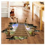 Kemilove 3D Bridge Floor Wall Stickers Removable Mural Decals Vinyl Art Living Room