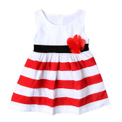 EITC Baby Girls Striped Dresses Sleeveless Dress with Flower Casual Party Wear