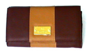 JOY Colorblock Genuine Leather Luxurious Crossbody Clutch - Espresso Brown
