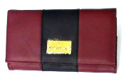 JOY Colorblock Genuine Leather Luxurious Crossbody Clutch - Marsala Red/Black