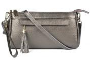 Pewter Genuine Leather Wristlet Bag Tassel Phone Mini Crossbody Clutch Purse Wallet Handbag Dexmay
