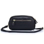 Aladin Womens Small Leather Crossbody Bag / Wristlet Purse 2 In 1 Handbag, Triple Zipper Compartments