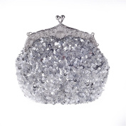 Vintage Kissing Lock Sequins Beaded Evening Clutch Dinner Party Purse