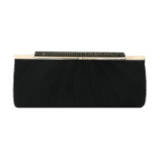Premium Crystal Top Pleated Satin Hard Frame Clutch Evening Bag