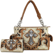 Western Cowgirl Concealed Carry Country Cross Purse Handbag Messenger Shoulder Bag Wallet Set Beige Tan