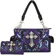 Western Cowgirl Concealed Carry Country Cross Purse Handbag Messenger Shoulder Bag Wallet Set Purple