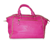 Pink Faux Leather With Gold Trim Studded Buckle Shoulder Bag Purses