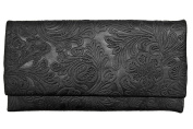 ili Leather 7603 Embossed Fold Over Wallet with RFID Lining