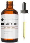 Beard Oil & Leave-in Conditioner (60ml) - The Simple Man by Kate Blanc. Unscented. Faster Beard Growth & Softer Fuller Beard, Relieves Itchiness, Flakes, Dandruff. Jojoba & Argan Oil