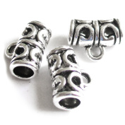 Heather's 85 Pieces Silver Tone Drum Bail Hollow Pattern Tube Spacer Connector Findings Jewellery Making 11X9X5mm