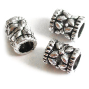 Heather's 200 Pieces Silver Tone Hollow Pattern Tube Spacer Connector Findings Jewellery Making 6mmX5mm