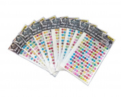 yueton 10 Sheets Colourful Self Adhesive Bling 6mm Round Rhinestone Craft Jewels Gem Sticker Embellishments