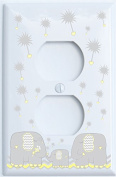 Yellow Dandelion and Grey Elephant Outlet Switch Plates Covers / Elephant Nursery Decor