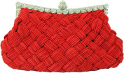 Chicastic Pleated and Braided Rhinestone studded Wedding Evening Bridal Bridesmaid Clutch Purse
