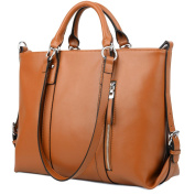 BIG SALE- 15% OFF - YALUXE Women's Urban Style 3-Way Leather Work Tote Shoulder Bag