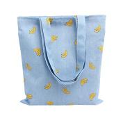 Caixia Women's Cotton Banana Print Blue Canvas Tote Shopping Bag