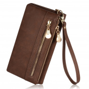 Augur Women's Matte Wristlet Clutch Wallet with Wrist Strap Card Holder