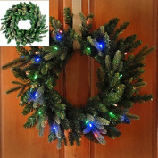 Lighted Christmas Wreath 70cm Battery Operated LED Multi/clr