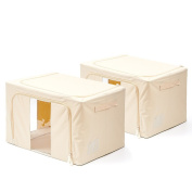 Zipper Storage Bin, [2-Pack] EZOWare Fabric Foldable Storage Zipper Container Organiser Bins with See-through Window - Extra Large / Beige