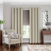 H.Versailtex Solid Thermal Insulated Blackout Curtain Panel Set for Bedroom, Cream, Warm Protecting & Noise Reducting, 140cm Width x 240cm Drop, Set of 2 pieces