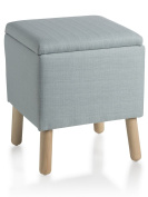 Cubic pouffe upholstered sofa with wooden Legs Avio 38X38X45 cm