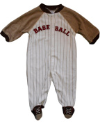 0-3 months Baby Boys Creamy White and Brown Pin Striped Baseball Sleepsuit
