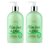 Set of 2 Antibacterial Scented Liquid Hand Wash Soap 500ml - Aloe Vera & Lotus