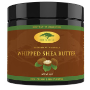 (240ml) Vanilla Whipped African Shea Butter Cream - Pure 100% Raw All Natural Organic Moisture for Soft Skin and Natural Hair - Body Butter Improves Blemishes Stretch Marks Scars Wrinkles & Eczema