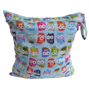 Babies Infants Colourful Owl Pattern Waterproof Reusable Washable Zipper Baby Cloth Nappy Nappy Bag Storage Carrier Blue