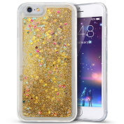 iPhone 6 Case,iPhone 6S Case,Ukayfe 3D Creative Luxury Bling Glitter Liquid Case Infused with Glitter Heart Moving Soft TPU Bumper PC Back Hybrid Shockproof Protection Case Cover For iPhone 6/6S 12cm , Gold